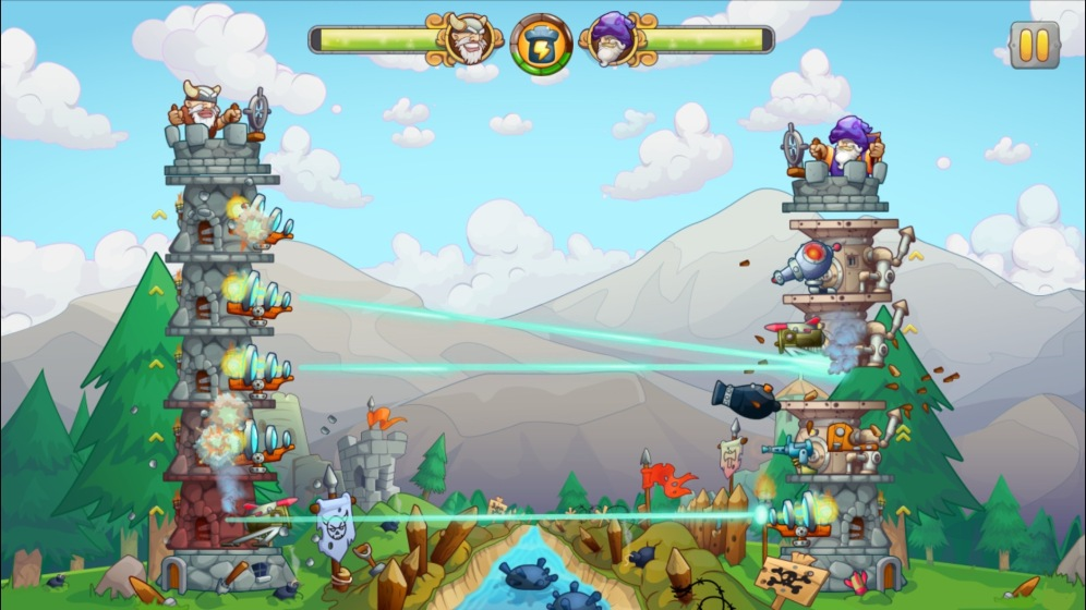Later into the game the player has advanced structures and turrets